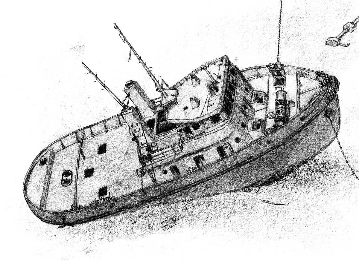Zeichnung des Wracks
